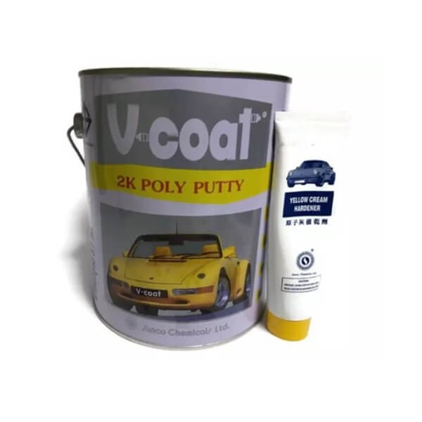 V coat สีโป๊วเหลือง V-COAT 2K Poly Putty 3.7 กก+น้ำยาโป้วเหลือง
